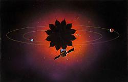 Concepción artistica de una misión con sombrilla estelar con forma de flor (NASA).